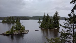 Smaller islands off of Eagle Island during my hike in the rain.