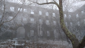 Overlook Hotel Ruins in January fog